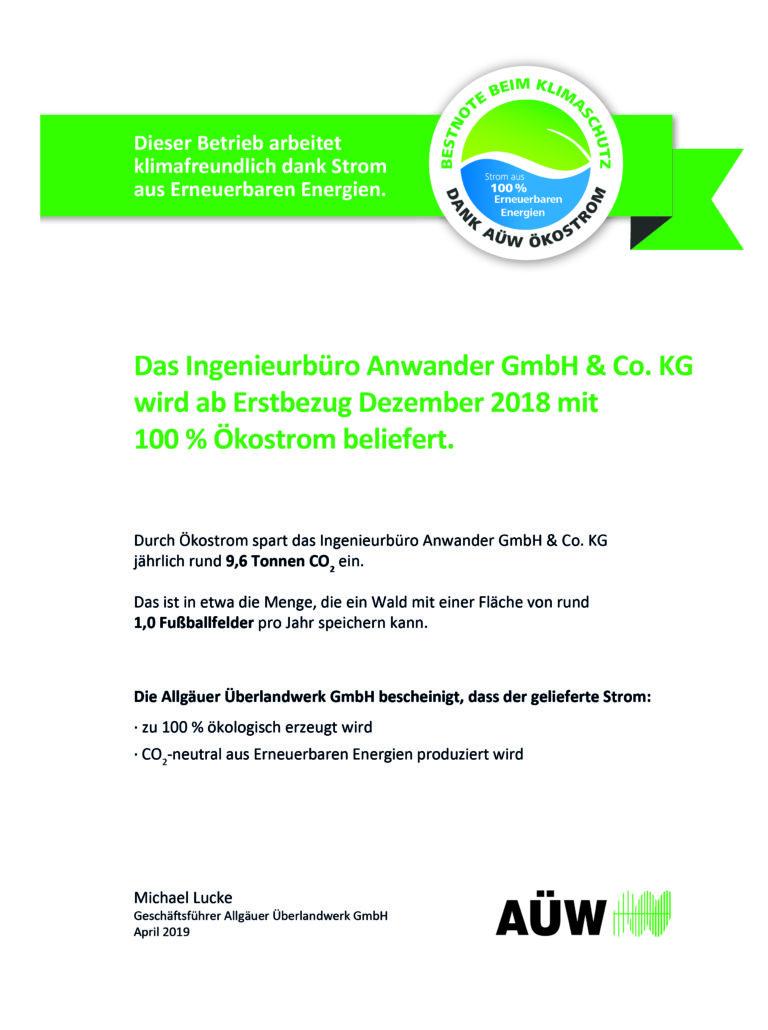 Ökostrom, Anwander, Nachhaltigkeit, Kempten, Brandschutz, Arbeitssicherheit